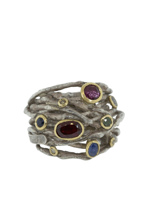 BOAZ KASHI sterling silver, tourmaline, sapphire and diamond wrap ring