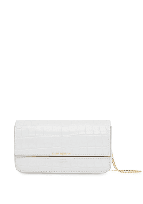 Burberry embossed wallet with detachable chain strap - Grey