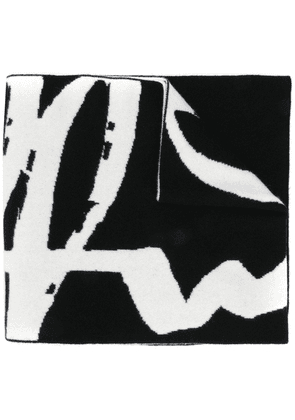 Off-White intarsia-knit logo scarf - Black