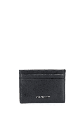 Off-White logo plaque leather cardholder - Black