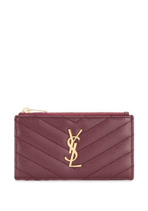 Saint Laurent monogram plaque cardholder - Red