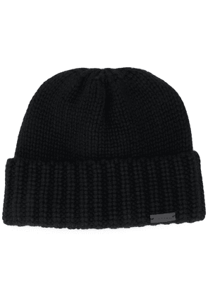 Saint Laurent logo plaque cashmere beanie - Black
