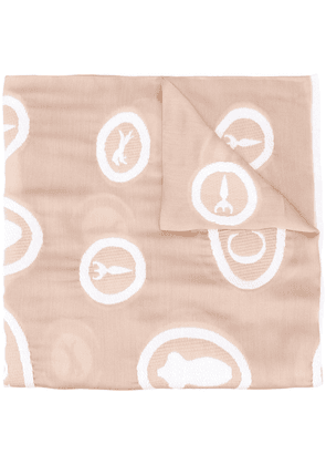 Chloé embroidered motif scarf - NEUTRALS