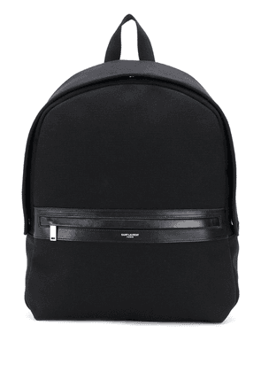 Saint Laurent cotton backpack with leather detailing - Black