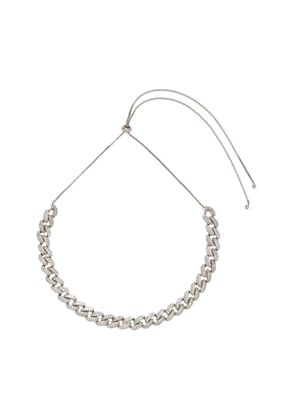 FALLON Armure Pavé Curb Silver-Plated Cubic Zirconia Necklace