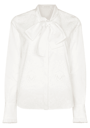 See by Chloé Embroidered pussy bow blouse - White