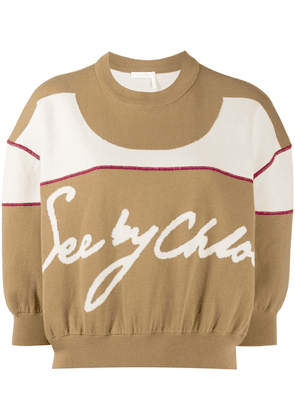 See by Chloé cropped gathered-knit jumper - Brown