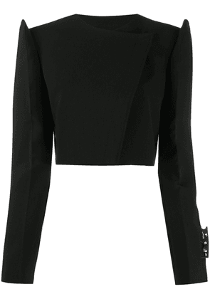 Off-White exagerrated-shoulders cropped jacket - Black