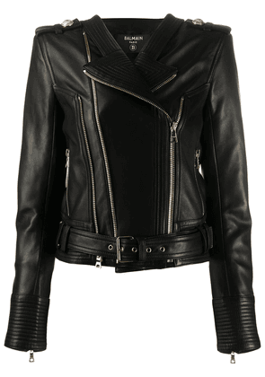 Balmain zipped biker jacket - Black