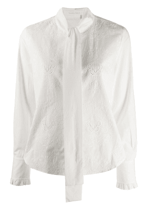 See by Chloé pussy-bow broderie anglaise blouse - White