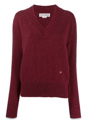Victoria Beckham long-sleeved v-neck jumper - PURPLE
