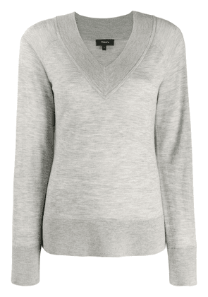 Theory v-neck knitted jumper - Grey