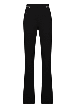 Versace zip accent wool flared trousers - Black