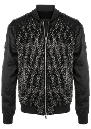 Balmain sequinned velvet bomber jacket - Black