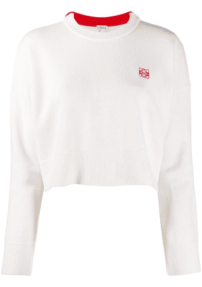 Loewe wool cropped jumper with logo embroidery - White