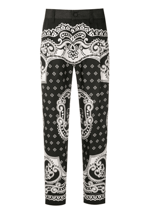 Dolce & Gabbana baroque-print cropped trousers - S9001