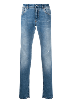 Dolce & Gabbana stonewashed-effect slim-fit jeans - Blue