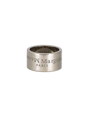 Maison Margiela Logo Ring in All Palladio Polished - Metallic Silver. Size S (also in L,M).