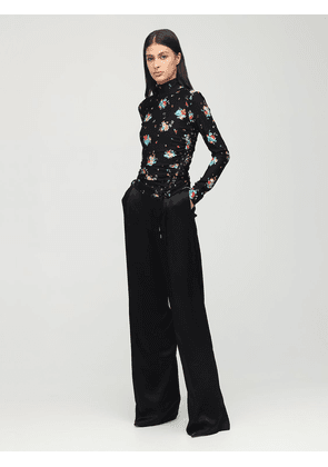 Printed Turtleneck Top W/ Lace-up Detail