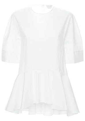 Cotton Poplin Shirt W/ Peplum