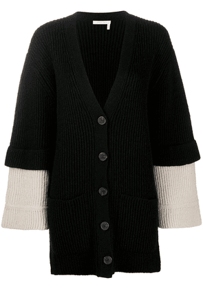 See by Chloé long sleeve ribbed knit cardigan - Black