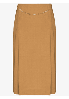 Victoria Beckham chain detail midi skirt - Brown
