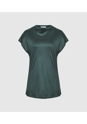 Reiss Pax - High Neck Top in Green, Womens, Size S