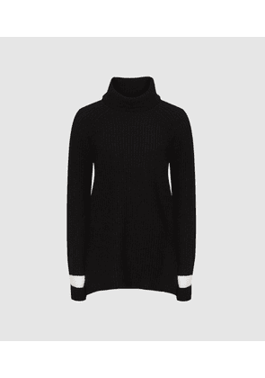 Reiss Coleen - Stripe Detailed Roll Neck in Black, Womens, Size XS