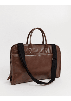 ASOS DESIGN faux leather satchel in chocolate brown