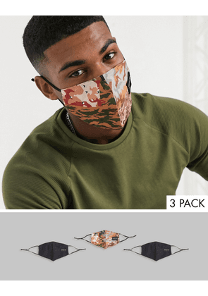 ASOS DESIGN 3 pack face covering in camouflage design with branding-Black