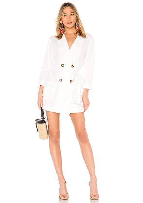 LPA Double Breasted Jacket in White. Size L.