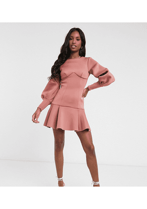 ASOS DESIGN Tall long sleeve seamed pep hem mini dress with open back in rose-Pink