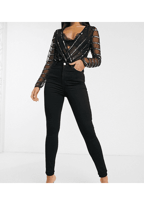 ASOS DESIGN Hourglass Tall 'Lift and Contour' skinny jeans in clean black
