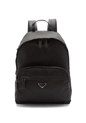 Prada - Logo-plaque Leather-trimmed Nylon Backpack - Mens - Black
