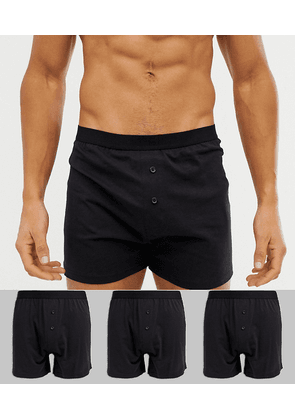 ASOS DESIGN 3 pack jersey boxers in black save
