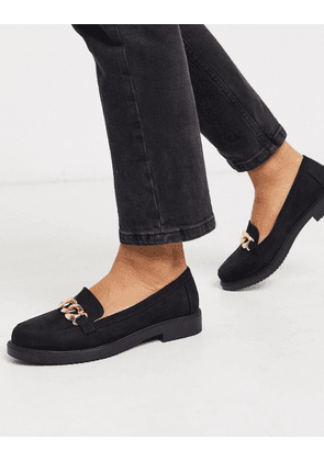 New Look chain detail loafers in black