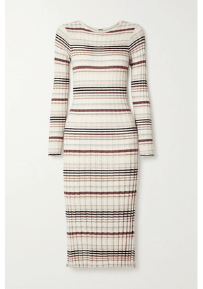 Adam Lippes - Striped Ribbed Silk And Cashmere-blend Midi Dress - White