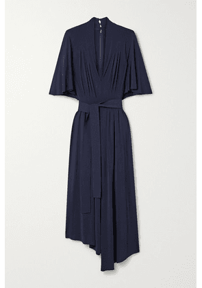 Adam Lippes - Asymmetric Belted Pleated Stretch-jersey Midi Dress - Midnight blue