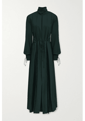 Victoria Beckham - Belted Pleated Twill Midi Dress - Emerald