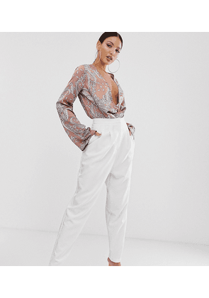 ASOS DESIGN Tall extreme tapered 80s trousers in white
