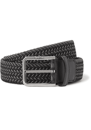 Berluti - 3cm Leather-Trimmed Woven Elastic Belt - Men - Black
