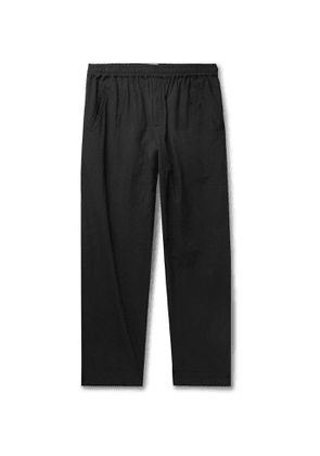 Folk - Assembly Tapered Crinkled-Cotton Suit Trousers - Men - Black