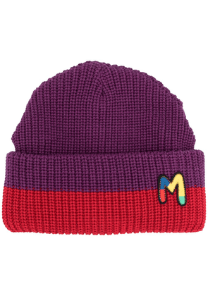 M Missoni embroidered logo beanie - PURPLE
