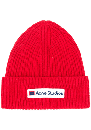 Acne Studios logo-patch beanie hat - Red