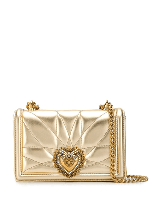 Dolce & Gabbana heart logo crossbody bag - GOLD