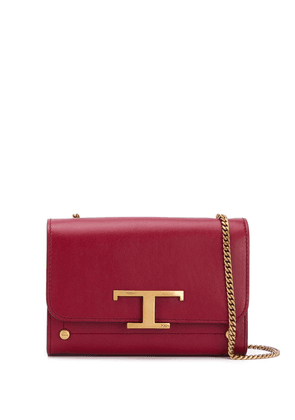 Tod's logo leather shoulder bag - Red