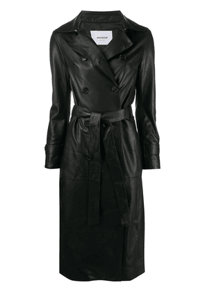 Dondup double-breasted leather coat - Black