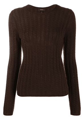 Theory cable-knit jumper - Brown