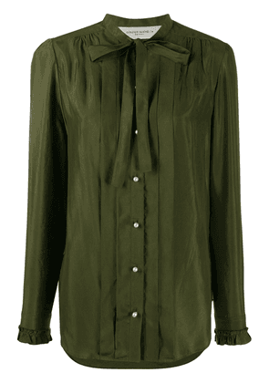Golden Goose pleated tie neck buttoned shirt - Green
