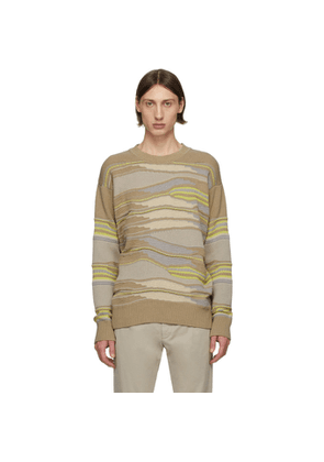 Z Zegna Taupe and Green Hand Drawn Stitch Sweater